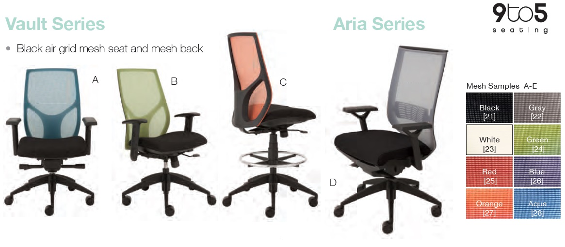 9to5 Seating Vault Aria And Cydia Series Chairs Office