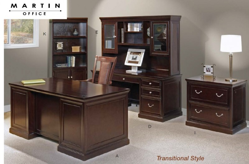 Martin Office Fulton Series Wood Veneer Desks Office
