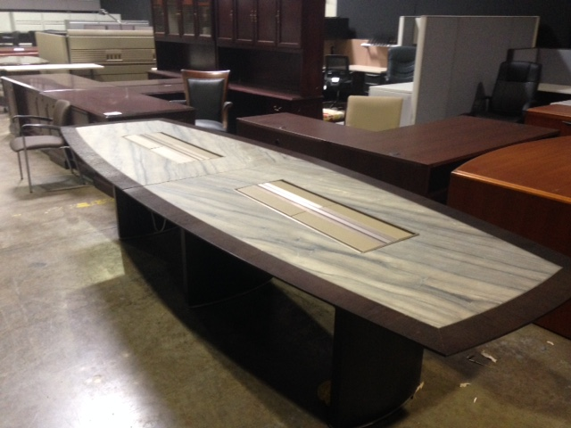 Tuohy custom made boat shape 12 foot granite inlay dark for 12 ft conference table