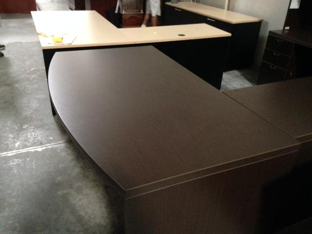 Lacasse Series 700 L Desk Espresso Laminate With Credenza