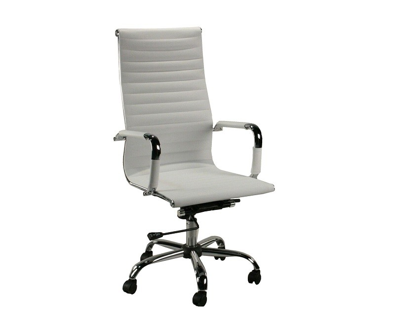 white vinyl office chair. Product Detail. Brand New! DSA High Back White Vinyl \u0026 Chrome Conference Chair Office