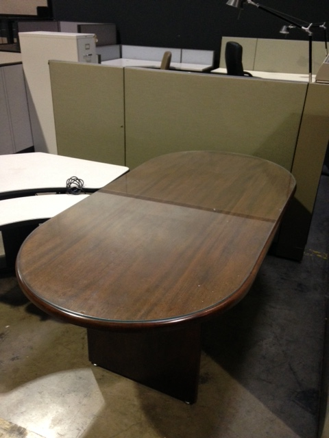6ft Walnut Veneer Racetrack Top Conference Table With
