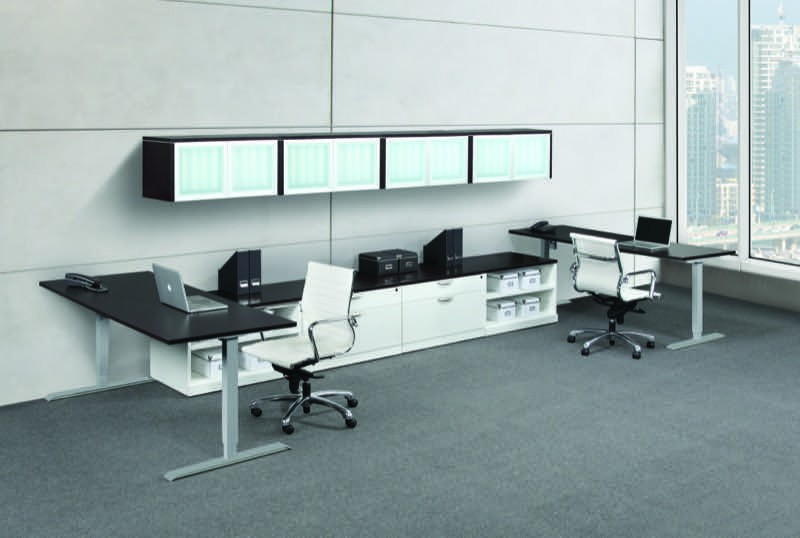 Ndi Elements 2 Person Teaming Workstation With Sit Stand Desks 3 Colors New Office Resource Group