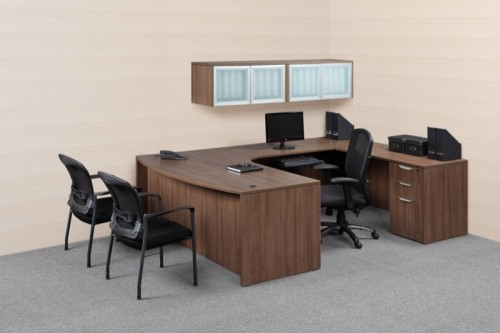 NDI Performance Executive 71u2033 U Group Desk With Wall Mounted Hutches 5  Colors New!