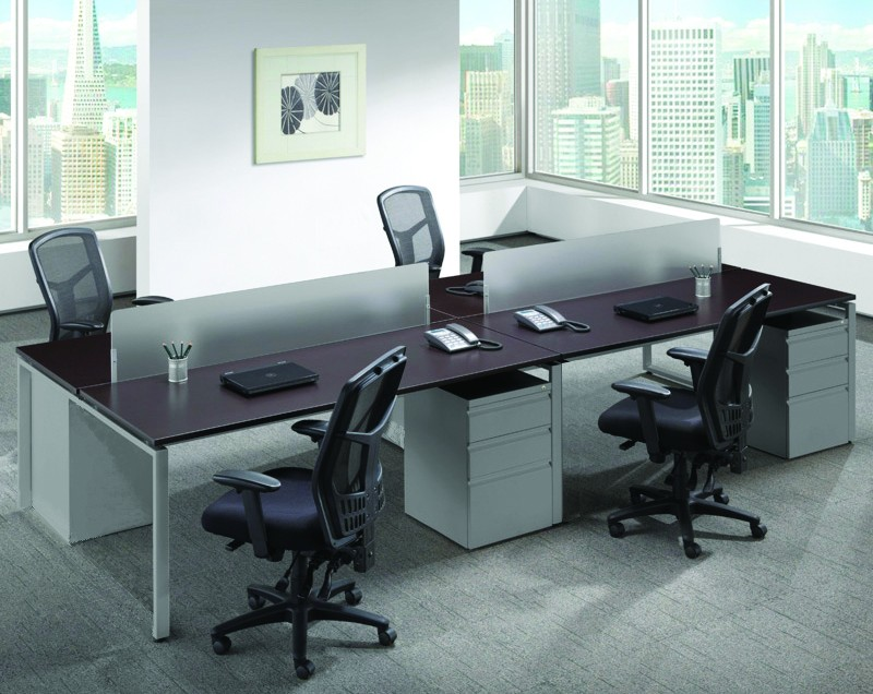 Home Office Sets Office Furniture Elements: NDI Elements Pod Of 4 Benching Workstations With Dividers