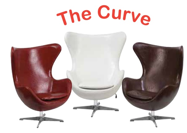 New OFD Accent It Retro Egg Shaped Vinyl Curve Chair Office Resource Group