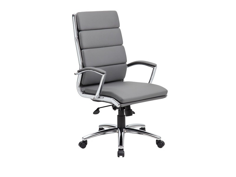 dsa b9471 gray vinyl high back conference task chair with chrome