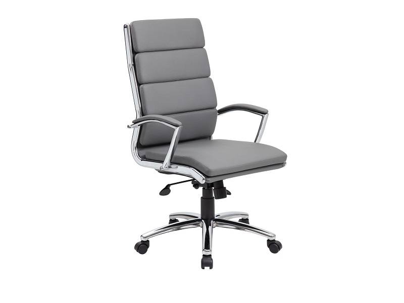 Dsa B9471 Gray Vinyl High Back Conference Task Chair With