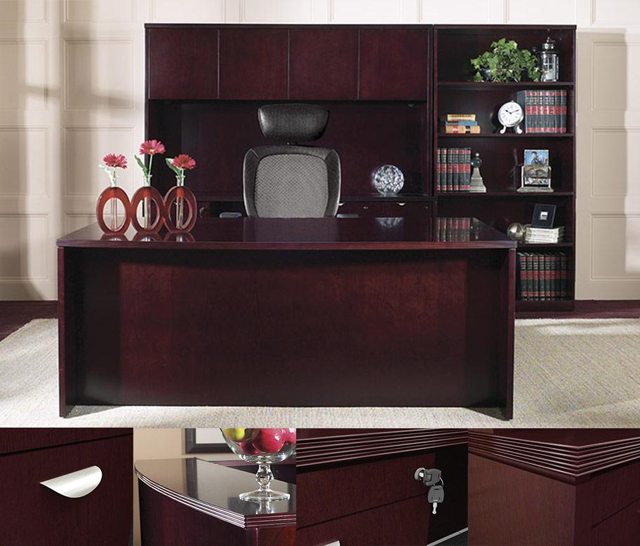 Ofd Kent Series 72 Bow Front U Group Wood Veneer Desk