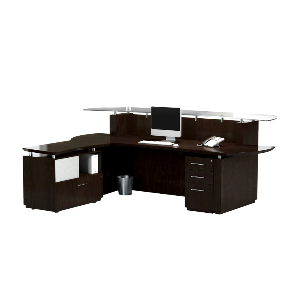 mayline sterling reception desk with return and peds 3. Black Bedroom Furniture Sets. Home Design Ideas