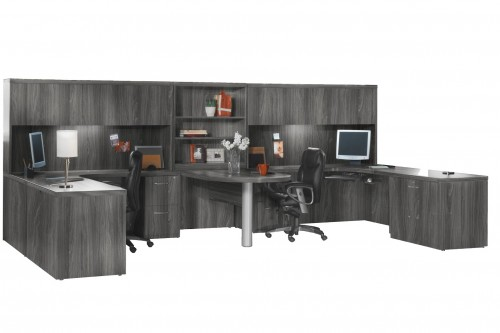 Mayline aberdeen executive u shaped desk 72 w glass for Furniture world aberdeen