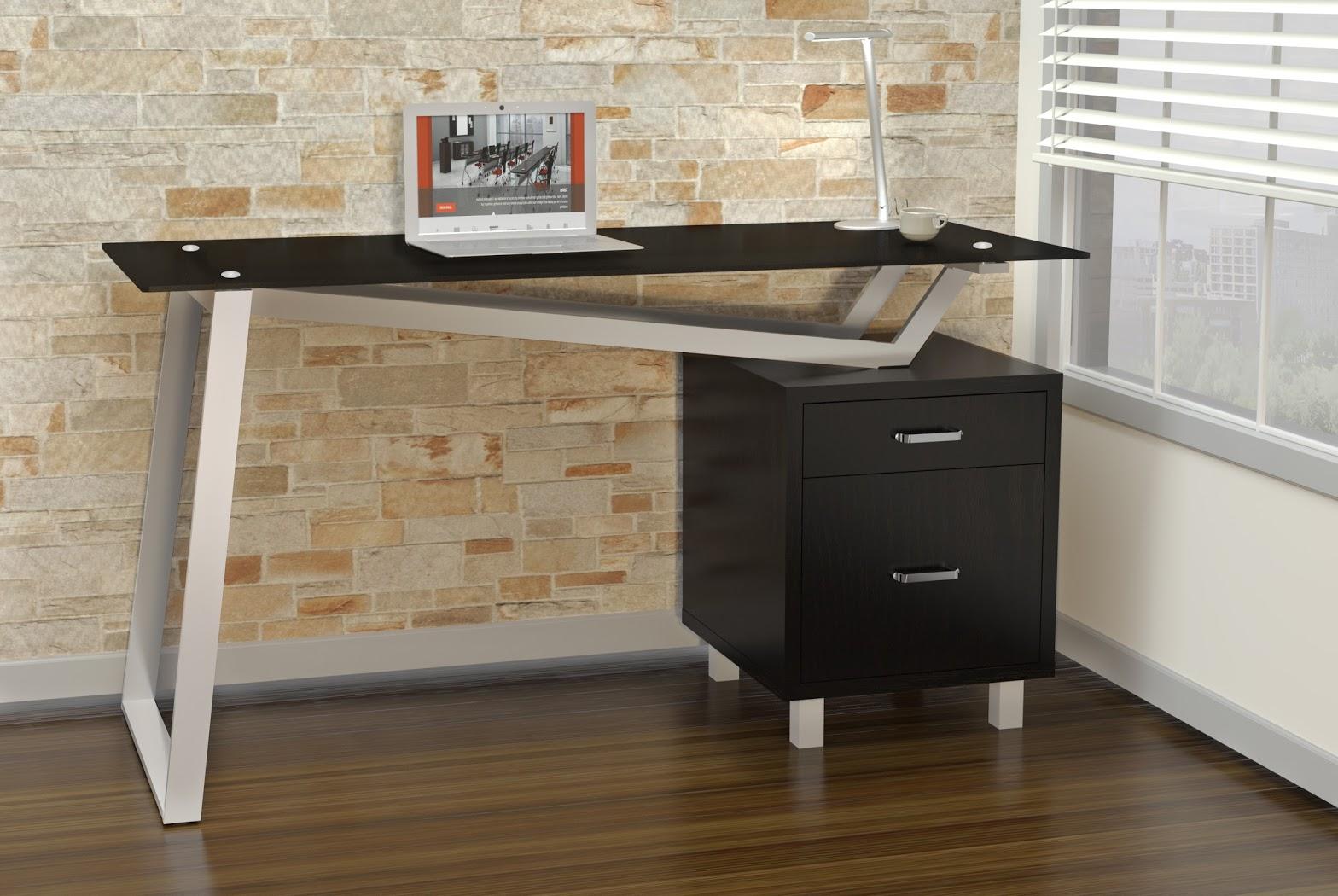 Mayline 55 Wide Soho Glass Top V Top Desk With Box File