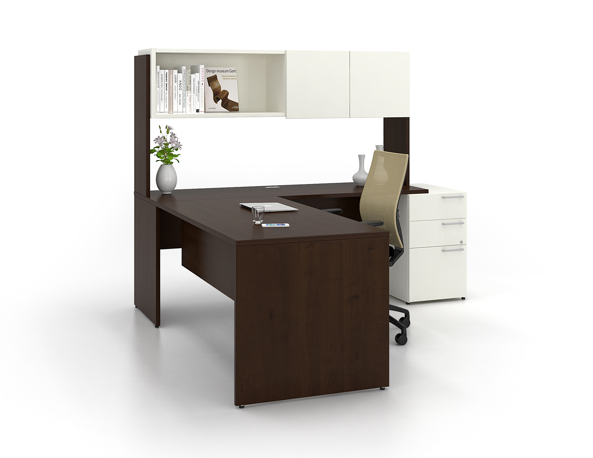 lacasse ca series l shape contemporary desk suite 9 two tone color
