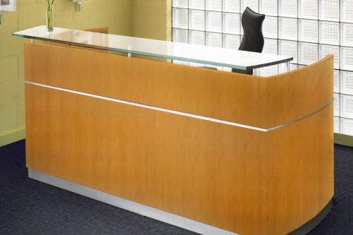 napoli wood veneer reception station with glass transaction top and 2 pedestals new