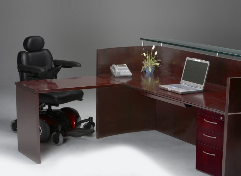 Napoli Wood Veneer Reception Station With Ada Accessible