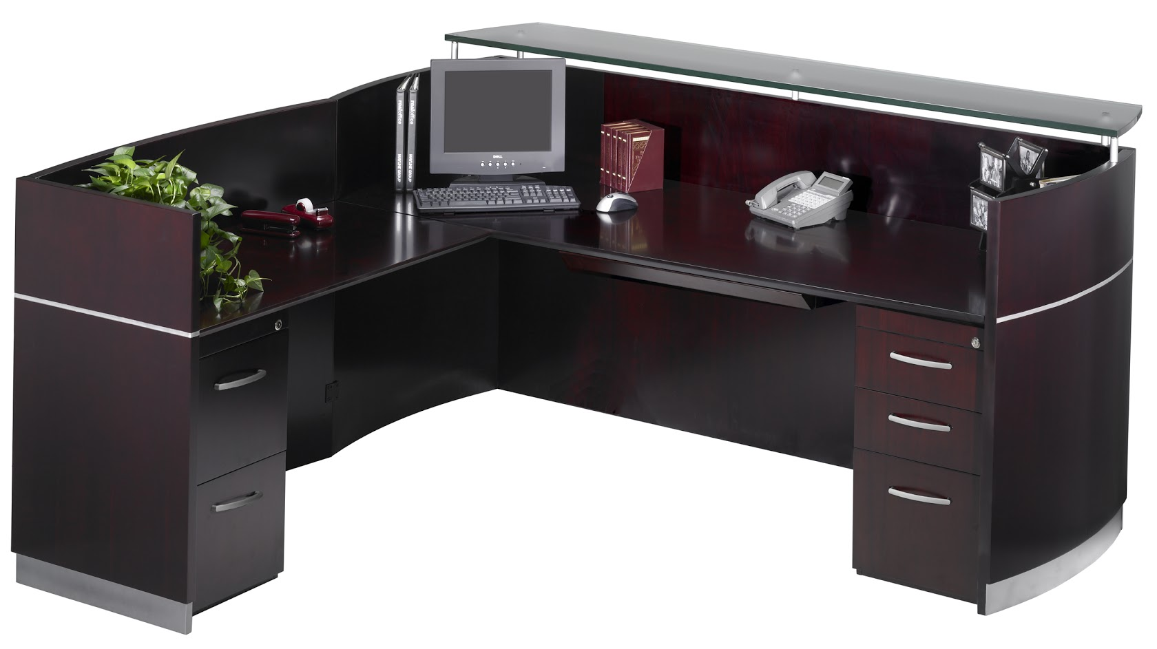 Napoli L Shape Wood Veneer Reception Station With Glass