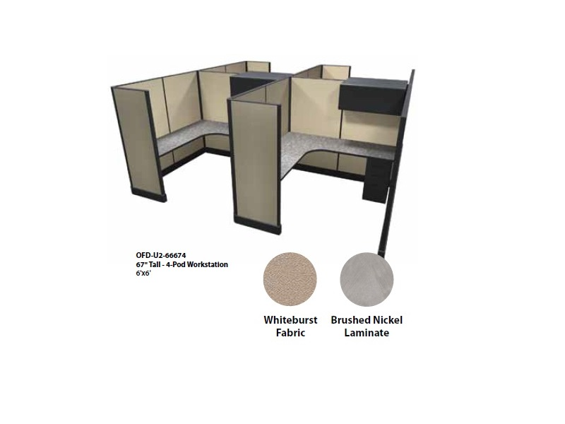 Ofd Ultra 2 67 Tall Cubicle Workstations Pod Of 4 New