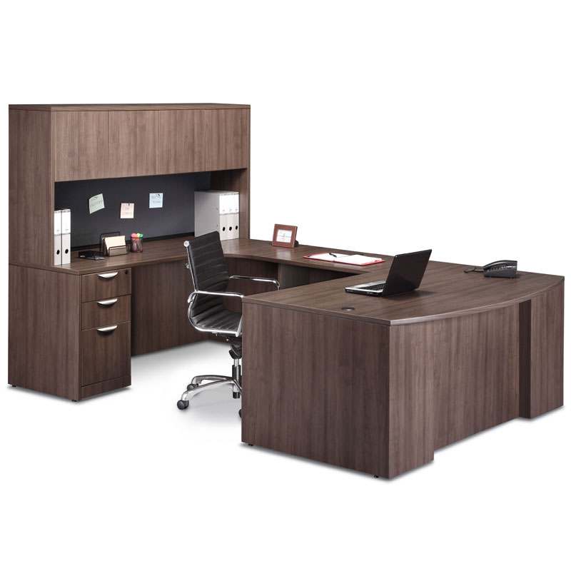 ndi pl48 office suite 71 bow front u group desk with credenza and