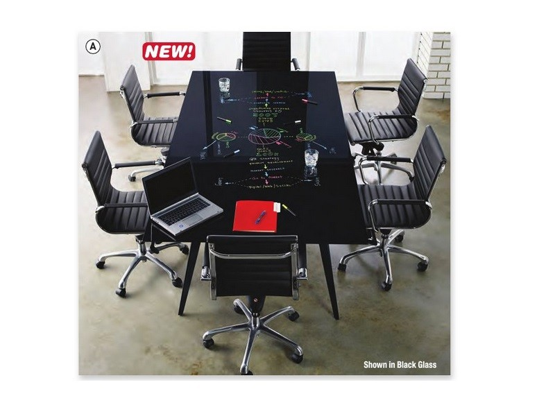 Black Glass Writeable Top 8 X4 Conference Table With